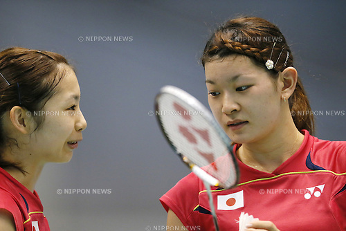 (L-R) Misaki Matsutomo, Sayaka Takahashi (JPN), June 14, 2014 - Badminton : Yonex Open Japan 2014 Women's Doubles semi final at Tokyo Metropolitan Gymnasium, Tokyo, Japan. (Photo by Yusuke Nakanishi/AFLO SPORT) [1090]