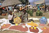Lolgorian, Kenya. Smiling women selling several different varieties of beans at the market.
