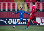 27th March 2018, Karadjorde Stadium, Novi Sad, Serbia; Under 21 International Football Friendly, Serbia U21 versus Italy U21; Forward Luca Vido of Italy crosses the ball into the Serbia area