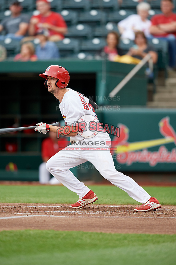 Springfield Cardinals third baseman Danny Diekroeger (30) runs to first base during a game against the Corpus Christi Hooks on May 31, 2017 at Hammons Field in Springfield, Missouri.  Springfield defeated Corpus Christi 5-4.  (Mike Janes/Four Seam Images)