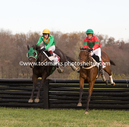 Patriot's Path, left, and Bon Caddo race as a team over the last in Pennsylvania Hunt Cup.