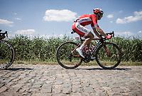 Simon Julien (FRA/Cofidis) riding the cobbles. <br /> <br /> Stage 9: Arras Citadelle > Roubaix (154km)<br /> <br /> 105th Tour de France 2018<br /> ©kramon