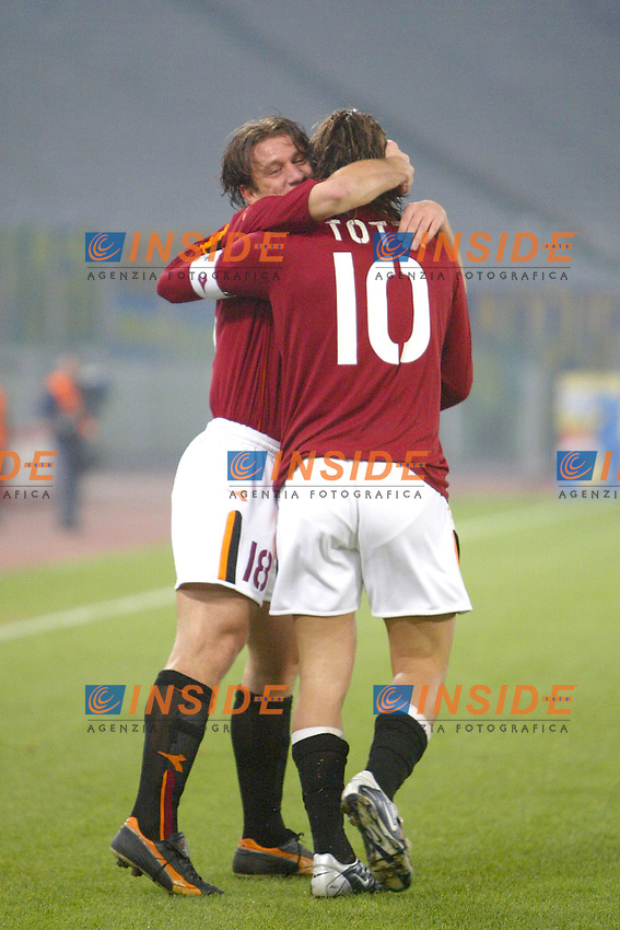 Roma 14/12/2003 Roma Modena 1-0<br /> L'abbraccio tra Antonio Cassano e Francesco Totti dopo il gol di totti su rigore.<br /> Photo Andrea Staccioli