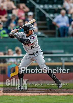 21 July 2019: Tri-City ValleyCat infielder Yeuris Ramirez in action against the Vermont Lake Monsters at Centennial Field in Burlington, Vermont. The Lake Monsters rallied to defeat the ValleyCats 6-3 in NY Penn League play. Mandatory Credit: Ed Wolfstein Photo *** RAW (NEF) Image File Available ***