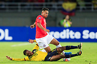 PEREIRA, COLOMBIA - JANUARY 18: Chile's Ivan Morales fights for the ball against Ecuador's Gustavo Cortez during their CONMEBOL Preolimpico soccer game at the Hernan Ramirez Villegas Stadium on January 18, 2020 in Pereira, Colombia. (Photo by Daniel Munoz/VIEW press/Getty Images)