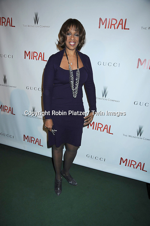 """Gayle King attending the premiere of"""" Miral"""" at The United Nations on March 14, 2011 in New York City. Julian Schnabel directed the movie which is from the book by his girlfriend Rula Jebreal."""