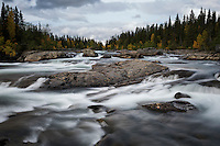 River rapids flowing near STF Kvikkjokk Fjällstation, Kungsleden trail, Lapland, Sweden