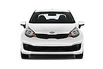 Car photography straight front view of a 2016 KIA Rio LX-AT 4 Door Sedan Front View