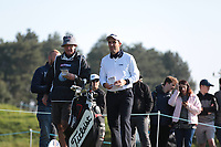 Edoardo Molinari and his caddie on the 4th tee during the 3rd day at the Betfred British Masters, Hillside Golf Club, Lancashire, England. 11/05/2019.<br /> Picture David Kissman / Golffile.ie<br /> <br /> All photo usage must carry mandatory copyright credit (&copy; Golffile | David Kissman)