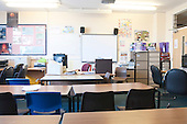 Empty classroom, state secondary school.