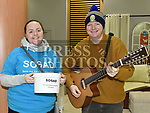 Sean Matthews and Margaret Buckley busking for SOSAD in the Laurence Centre. Photo:Colin Bell/pressphotos.ie
