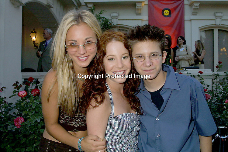 ©2002 KATHY HUTCHINS / HUTCHINS PHOTO.ABC TCA PRESS TOUR PARTY -.TOURAMENT OF ROSES HOUSE.PASADENA, CA.7/18/02.KALEY CUOCO, AMY DAVIDSON, AND MARTIN SPANJERS