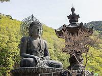 Buddha-Statue Tongil Daebu im Nationalpark Seoraksan bei Sokcho, Provinz Gangwon, Südkorea, Asien, UNESCO-Biosphärenreservat<br /> Buddha statue Tongil Daebu in  Seoraksan National Park near Sokcho, province Gangwon, South Korea, Asia, UNESCO Biosphere reserve
