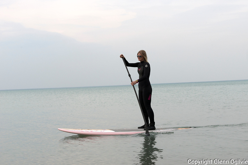 """Janka Thompson, of Sarnia couldn't wait for the weather to change so she could start paddle boarding again.  After spending a couple of years in the Grand Caymen Islands, where she learned to paddle board, returning to Sarnia, was a natural fit to continue her recreational watersport. """"When I moved back to Sarnia I realized I had to do something on the water,"""" she said """"I got a paddle board and I love it. I like  being alone on the water, it's so peaceful."""""""