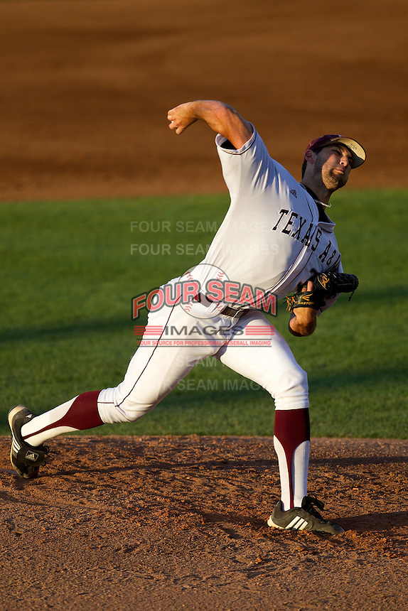Texas A&M Aggie starting pitcher Michael Wacha #38 delivers a  pitch during the NCAA Tournament Regional baseball game against the Dayton Flyers on June 1, 2012 at Blue Bell Park in College Station, Texas. The Aggies defeated the Flyers 4-1. (Andrew Woolley/Four Seam Images)