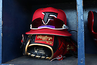 GREENSBORO, NC - FEBRUARY 22: Fairfield University baseball hat at glove during a game between Fairfield and UNC Greensboro at UNCG Baseball Stadium on February 22, 2020 in Greensboro, North Carolina.
