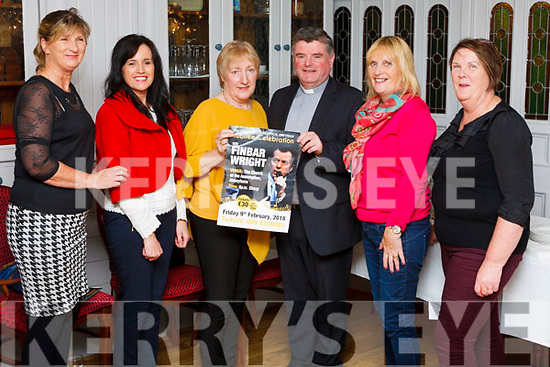 Fr. Tony Mullins with members of the Pastoral Council, Kate Murphy, Trish Roche, Ann O' Mara, Carmel Fitzgerald & Kathleen Harnett pictured in Leens Hotel at the launch of Finbar Wright's concert which takes place in February 2018.