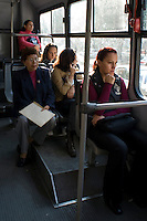 """Mexico City's public transportation's """"Women Only"""" bus Mexico D.F., Mexico.  Wednesday, April 30, 2008"""