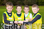 Gneeveguilla u11 relay team l-r: Jack Walsh, Jack O'Leary, Cian Foley and Donal Daly preparing for their race in the Kerry Cross Country finals in Killarney on Sunday..