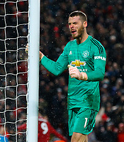 Manchester United's David De Gea reacts to conceding  second goal<br /> <br /> Photographer AlexDodd/CameraSport<br /> <br /> The Premier League - Liverpool v Manchester United - Sunday 16th December 2018 - Anfield - Liverpool<br /> <br /> World Copyright &copy; 2018 CameraSport. All rights reserved. 43 Linden Ave. Countesthorpe. Leicester. England. LE8 5PG - Tel: +44 (0) 116 277 4147 - admin@camerasport.com - www.camerasport.com
