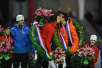SCHAATSEN: HEERENVEEN: Thialf, KPN NK Sprint, 30-12-11, Thijsje Oenema, Hein Otterspeer, Margot Boer, Stefan Groothuis, Marrit Leenstra, ©foto: Martin de Jong.