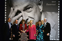 www.acepixs.com<br /> February 16, 2017  New York City<br /> <br /> Anderson Cooper, Anna Wintour, Hillary Clinton and Michael Bloomberg at the press conference for The Oscar de la Renta Forever Stamp First-Day-of-Issue Stamp Dedication Ceremony, Vanderbilt Hall at Grand Central Station on February 16, 2017 in New York City.<br /> <br /> Credit: Kristin Callahan/ACE Pictures<br /> <br /> <br /> Tel: 646 769 0430<br /> Email: info@acepixs.com