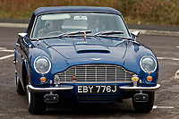 Pictured: Prince Charles arrives in his 1960 Aston Martin DB6 Volante. Friday 21 February 2020<br /> Re: HRH Prince Charles visits the Aston Martin Lagonda factory in St Athan, south Wales, UK.