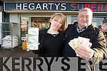 John O'Donoghue, Killarney, pictured with Monika Kucman, Hegartys Supermerket, as he celebrated his second big win on Winning Streak in three and a half years, in Hegartys Supermarket, Park Road, Killarney, where he purchased the ticket....... ..........................