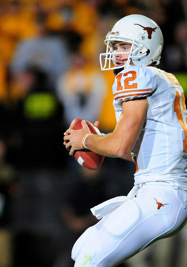 04 October 2008: Texas quarterback Colt McCoy looks for an open receiver during a game against Colorado. The Texas Longhorns defeated the Colorado Buffaloes 38-14 at Folsom Field in Boulder, Colorado. For Editorial Use Only