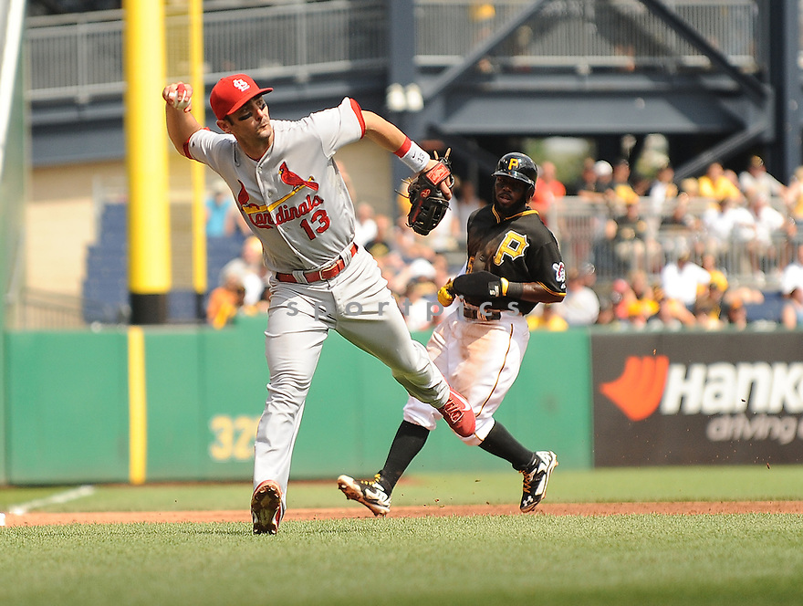 St. Louis Cardinals Matt Carpenter (13) during a game against the Pittsburgh Pirates on August 27, 2014 at PNC Park in Pittsburgh PA. The Pirates beat the Cardinals 3-1.