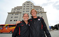 Abby Wambach (r) und Christie Rampone, players of the USA national team, arrive during the FIFA Women's World Cup 2011 in Germany the Maritim Hotel in Dresden, Germany on June 23th, 2011.