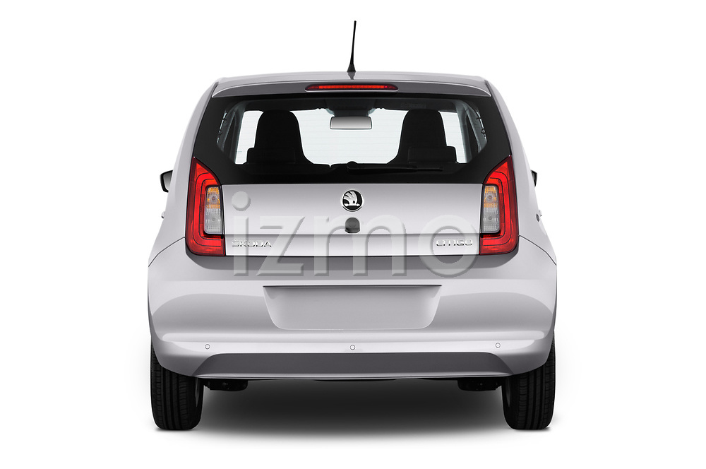 Straight rear view of a 2017 Skoda Citigo Ambition 5 Door Hatchback stock images