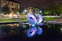 Gilman Fountain piece by Ran Zhang '18, Willie Siau '18. Students in professor Allison de Fren's class, ArtM260, Exploring Virtual Reality, transform the AGC and Johnson-Fowler Hall area and the Gilman Fountain through projection mapping on Thursday, Nov. 20, 2014. Sometimes called spatial augmented reality, projection mapping is a technique for turning objects and buildings into display surfaces for video projection. Ambient music by KOXY. The event was the culmination of a projection mapping assignment for ArtM260, which is a new course developed through the faculty fellowship program with the CDLA (Center for Digital Liberal Arts) with assistance from Mellon postdoctoral fellow Patty Ahn. Students also received projection mapping workshops and guidance from Evan Weitz of the Mapjacks, an LA-based projection mapping collective. (Photo by Marc Campos, Occidental College Photographer)