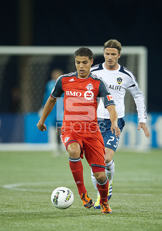 07 March 2012: LA Galaxy midfielder David Beckham #23 and Toronto FC midfielder Luis Silva #11 in action during a CONCACAF Champions League game between the LA Galaxy and Toronto FC at the Rogers Centre in Toronto..The game ended in a 2-2 draw.