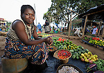 A woman selling produce in a market near Thyolo, in southern Malawi.