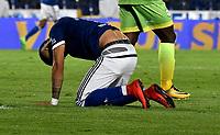 BOGOTA - COLOMBIA - 25 – 03 - 2018: Ayron del Valle, jugador de Millonarios, reacciona después de perder oportunidad de gol a Jaguares F. C., durante partido de la fecha 10 entre Millonarios y Jaguares F. C., por la Liga Aguila I 2018, jugado en el estadio Nemesio Camacho El Campin de la ciudad de Bogota. / Ayron del Valle player of Millonarios reacts after missing opportunity to score goal to Jaguares F. C., during a match of the 10th date between Millonarios and Jaguares F. C., for the Liga Aguila I 2018 played at the Nemesio Camacho El Campin Stadium in Bogota city, Photo: VizzorImage / Luis Ramirez / Staff.