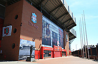 May 4th 2020, Liverpool, United Kingdom; Anfield stadium during the suspension of the Premier League due to the Covid-19 virus pandemic; the deserted entrance to the Kop end of the stadium