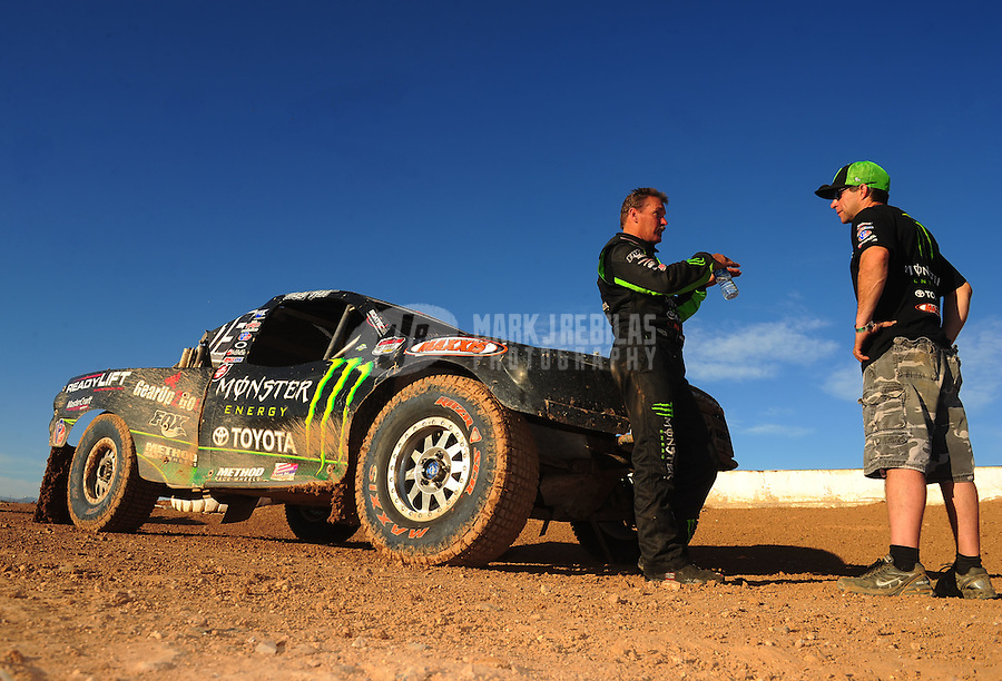 Apr 16, 2011; Surprise, AZ USA; LOORRS driver Marty Hart (left) talks with Johnny Greaves following round 3 at Speedworld Off Road Park. Mandatory Credit: Mark J. Rebilas-