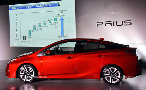 October 13, 2015, Tokyo, Japan - Japan's Toyota Motor Corp. unveils the next-generation 2016 Prius hybrid at its Mega Web showroom in Tokyo on Tuesday, October 13, 2015. The flashy fourth generation new Prius adds another 10% to its already impressive fuel economy rating to 40km per liter.  (Photo by Natsuki Sakai/AFLO) AYF -mis-