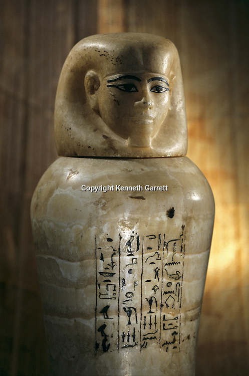 Canopic Jar for Tjuya, Valley of the Kings; reign of Amenhotep III, Tutankhamun and the Golden Age of the Pharaohs, Page 135