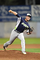 Vermont Lake Monsters pitcher Blake McMullen (7) delivers a pitch during a game against the Jamestown Jammers on July 12, 2014 at Russell Diethrick Park in Jamestown, New York.  Jamestown defeated Vermont 3-2.  (Mike Janes/Four Seam Images)