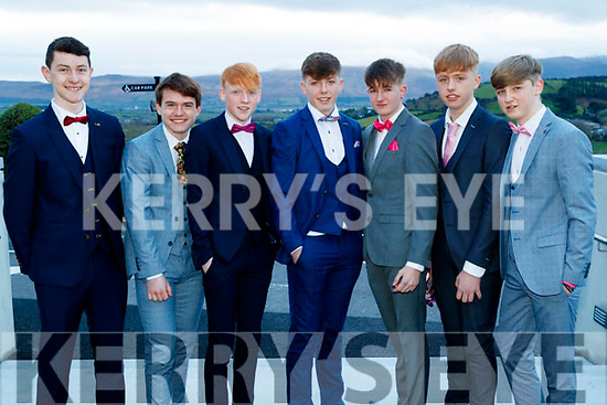 Robert O'Sullivan, Killian Falvey, Conn O'Regan, Colm Moriarty, Cathal Moriarty, Jamie O'Flaherty and Mitchell Hunt, Pobalscoil Chorca Dhuibhne, pictured at the TY Ball, at Balyroe Heights Hotel, Tralee, on Saturday night last.