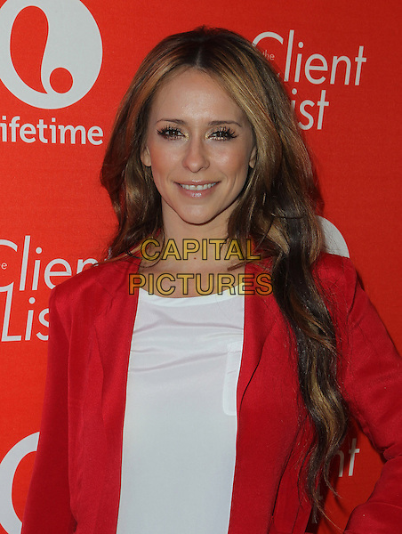 "Jennifer Love Hewitt.Jennifer Love Hewitt's ""The Client List"" Valentine's Day Event Held At Mel's Diner, Los Angeles, California, USA, .14th February 2013..portrait headshot  red jacket white top smiling blazer smiling .CAP/ADM/KB.©Kevan Brooks/AdMedia/Capital Pictures."