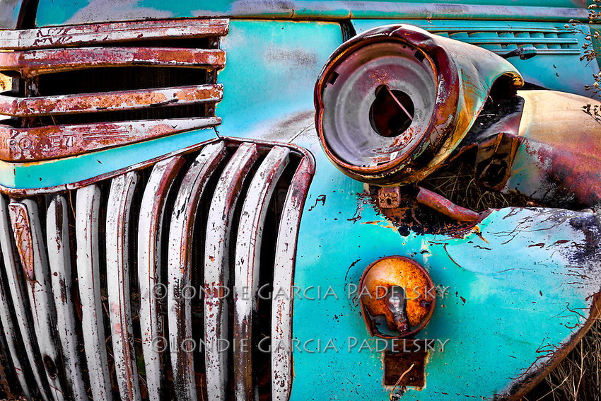 Closeup of an old rusted Chevrolet Pickup Truck in Harney County, Montana