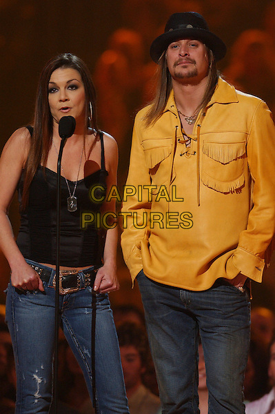 GRETCHEN WILSON & KID ROCK.2006 CMT Music Awards held at The Curb Event Center at Belmont University, Nashville, Tennessee, USA - Telecast.April 10th, 2006.Photo: Laura Farr/AdMedia/Capital Pictures.Ref: LF/ADM.half length black hat yellow shirt black.www.capitalpictures.com.sales@capitalpictures.com.© Capital Pictures.