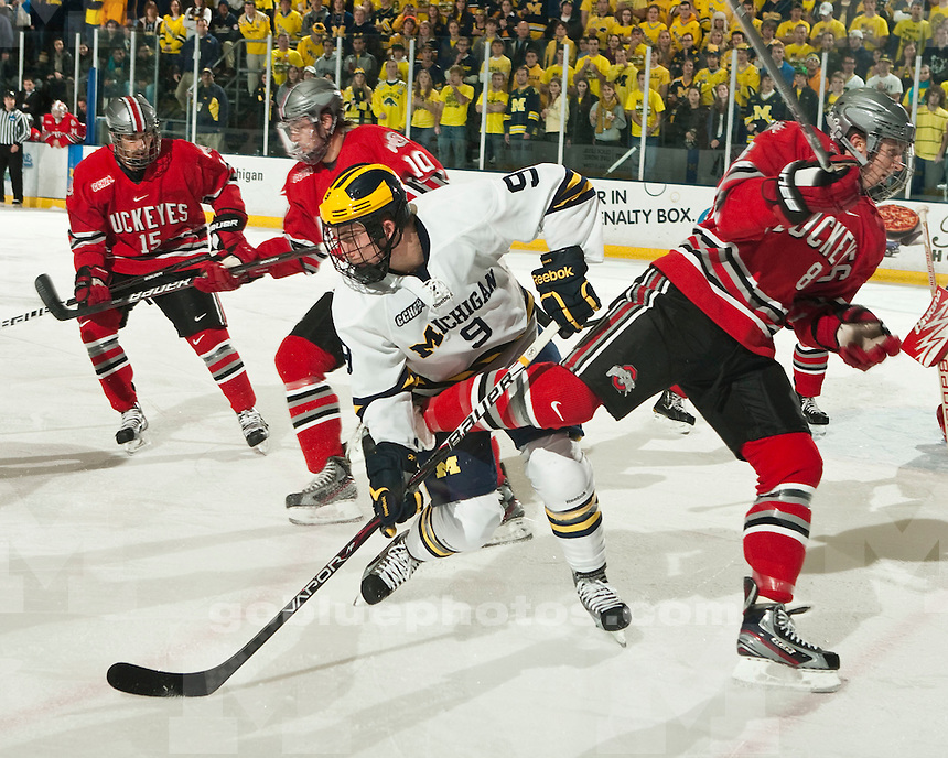 The University of Michigan men's ice hockey team lost 2-1 to Ohio State University at Yost Arena in Ann Arbor, Mich., on Friday, November 18, 2011.