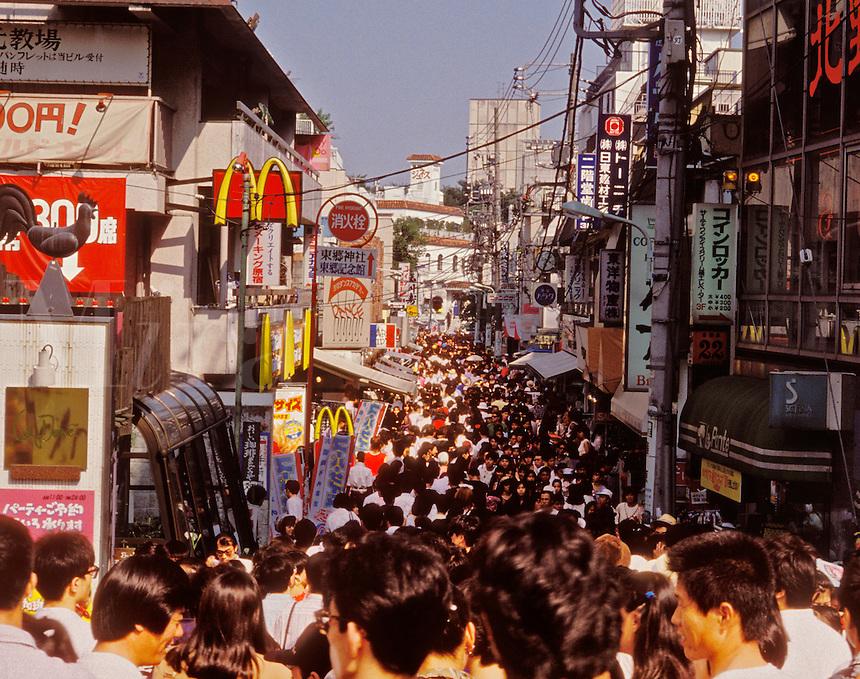 Japan. Tokyo. Crowded street in Harajuku.