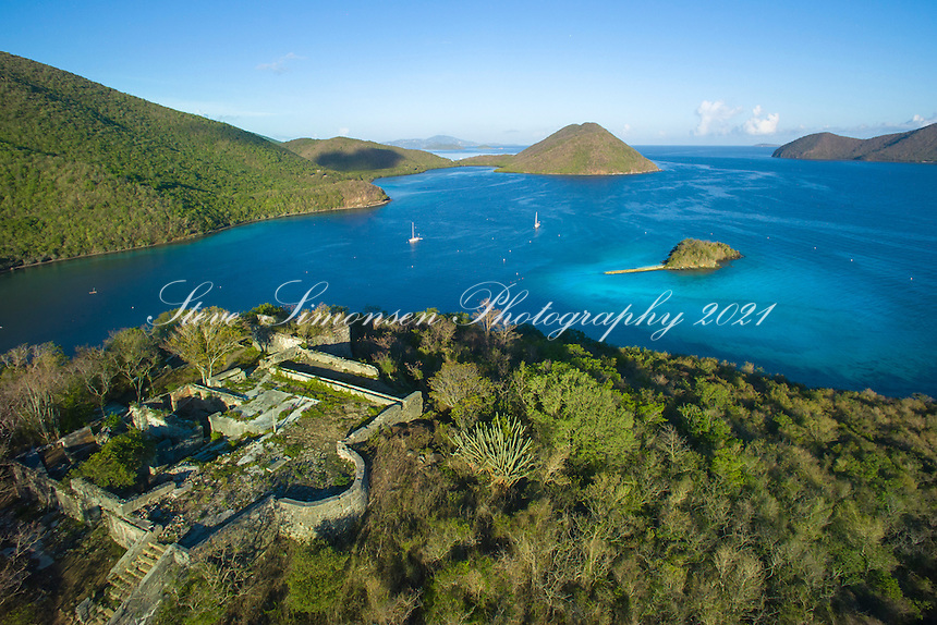 Leinster Bay and Waterlemon Cay<br /> with the Murphy Great House Ruins<br /> Virgin Islands National Park<br /> St. John<br /> U.S. Virgin Islands