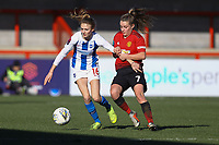 Ellie Brazil of Brighton & Hove Albion Women and Ella Toone of Manchester United Women during Brighton & Hove Albion Women vs Manchester United Women, SSE Women's FA Cup Football at Broadfield Stadium on 3rd February 2019
