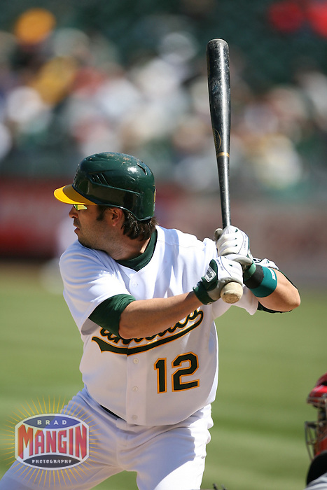 OAKLAND - April 18:  Todd Walker of the Oakland Athletics during the game against the Los Angeles Angels of Anaheim at McAfee Coliseum in Oakland, California on April 18, 2007.  (Photo by Brad Mangin)
